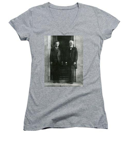 Albert Einstein And Hendrik Antoon Lorentz Women's V-Neck