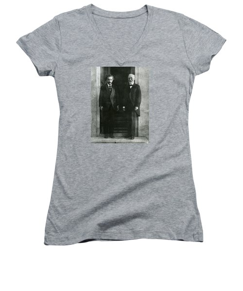 Albert Einstein And Hendrik Antoon Lorentz Women's V-Neck