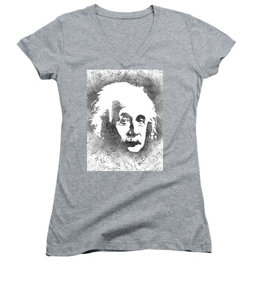 Albert Einstein Bw  Women's V-Neck T-Shirt (Junior Cut) by Mihaela Pater