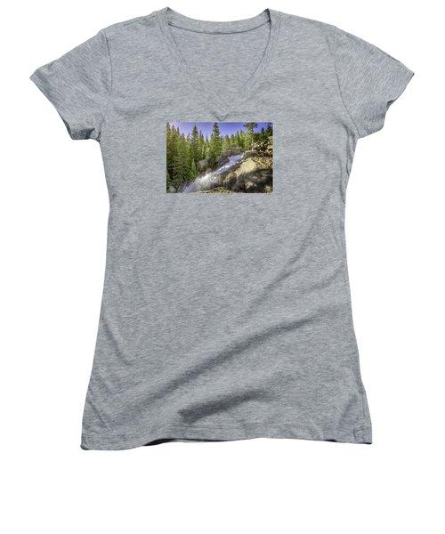 Alberta Falls Women's V-Neck T-Shirt (Junior Cut) by Mary Angelini