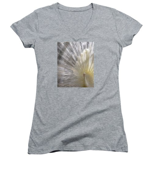 Pure White Peacock Women's V-Neck T-Shirt