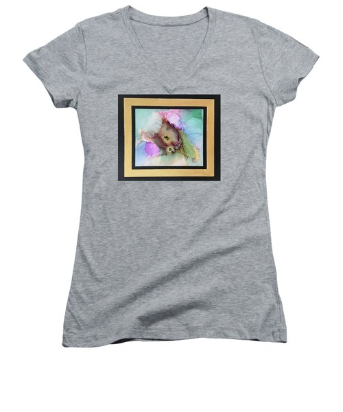 Alcoholic Flower Women's V-Neck T-Shirt (Junior Cut) by Karin Eisermann