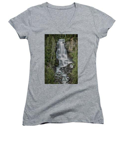 Women's V-Neck T-Shirt (Junior Cut) featuring the photograph Alexander Falls by Stephen Stookey