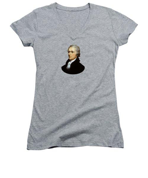 Alexander Hamilton Women's V-Neck T-Shirt (Junior Cut) by War Is Hell Store