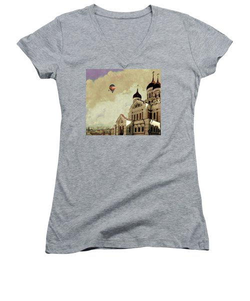 Women's V-Neck T-Shirt (Junior Cut) featuring the digital art Alexander Nevsky Cathedral In Tallin, Estonia, My Memory. by Jeff Burgess