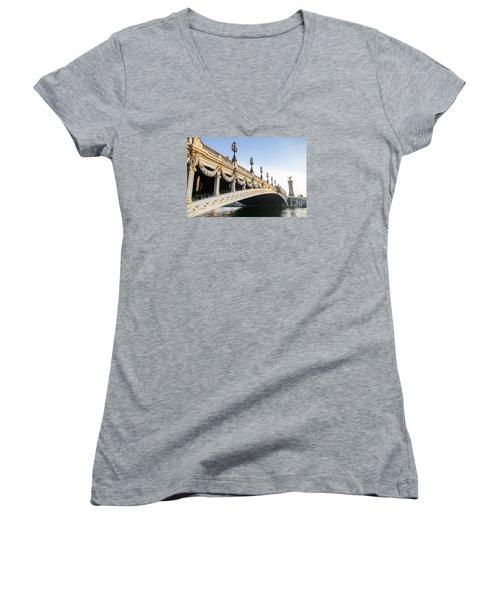 Alexandre IIi Bridge In Paris France Early Morning Women's V-Neck (Athletic Fit)