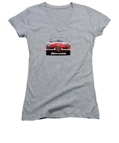 Alfa Romeo Spider Women's V-Neck T-Shirt (Junior Cut) by Mark Rogan