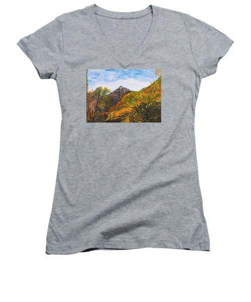 Algund View Women's V-Neck T-Shirt (Junior Cut) by Valerie Ornstein