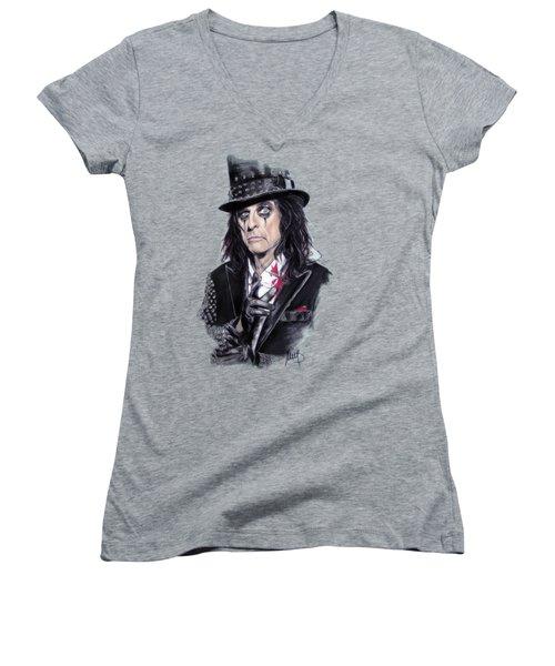 Alice Cooper Women's V-Neck T-Shirt (Junior Cut) by Melanie D