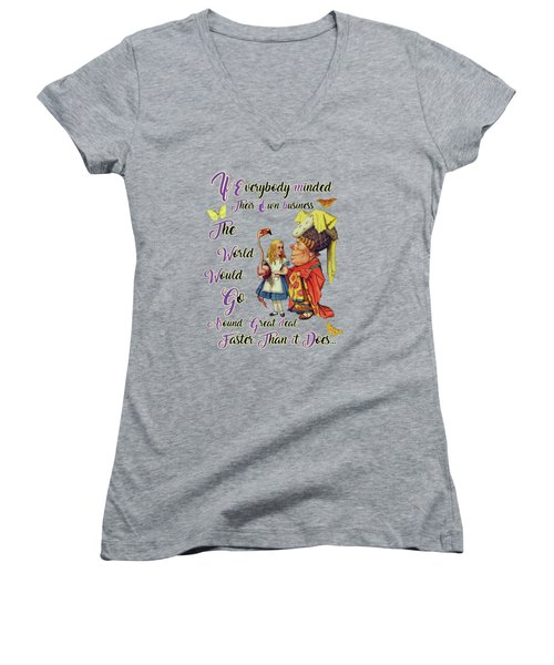 Alice With The Duchess Vintage Dictionary Art Women's V-Neck T-Shirt (Junior Cut) by Jacob Kuch