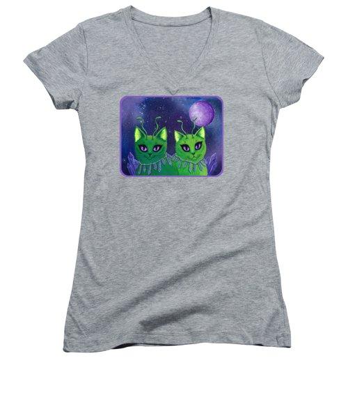 Alien Cats Women's V-Neck