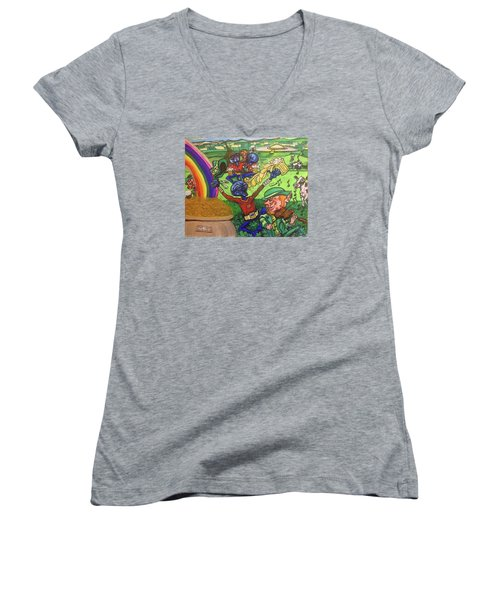 Women's V-Neck T-Shirt (Junior Cut) featuring the painting Alien Go Bragh by Similar Alien