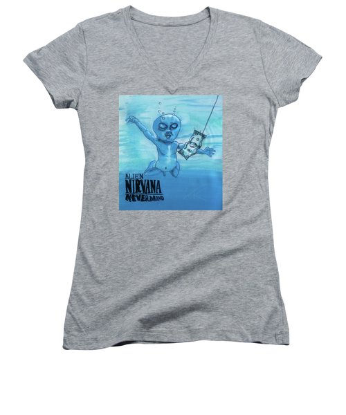 Women's V-Neck T-Shirt (Junior Cut) featuring the painting Alien Nevermind by Similar Alien