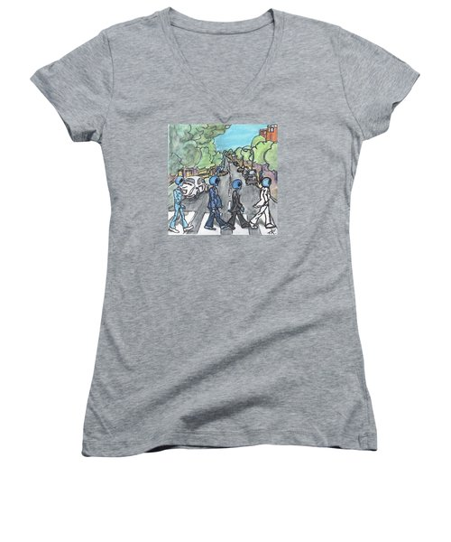 Women's V-Neck T-Shirt (Junior Cut) featuring the painting Alien Road by Similar Alien