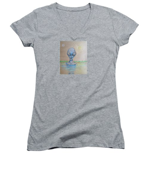 Women's V-Neck T-Shirt (Junior Cut) featuring the drawing Alien Submerged by Similar Alien