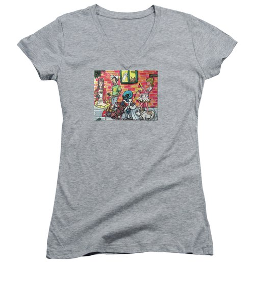 Women's V-Neck T-Shirt (Junior Cut) featuring the painting Aliens Love Dogs by Similar Alien