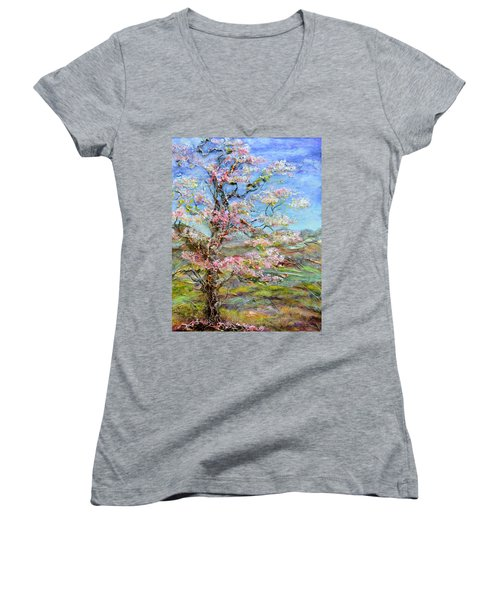 Alive Women's V-Neck T-Shirt (Junior Cut) by Regina Valluzzi