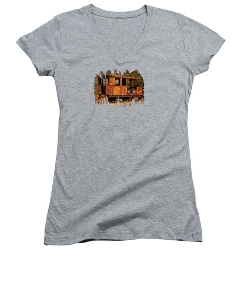 All Aboard Women's V-Neck T-Shirt (Junior Cut) by Thom Zehrfeld