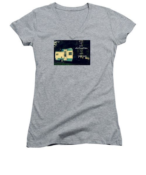 Women's V-Neck T-Shirt (Junior Cut) featuring the photograph All About The Journey by Robin Dickinson