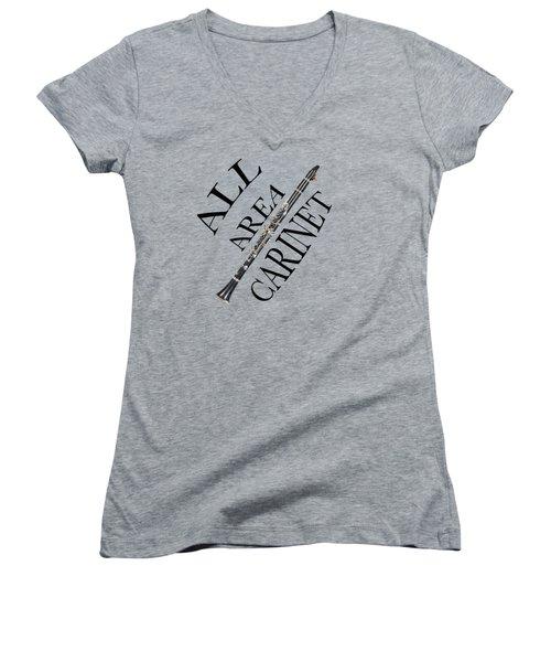 All Area Clarinet Women's V-Neck T-Shirt (Junior Cut) by M K  Miller