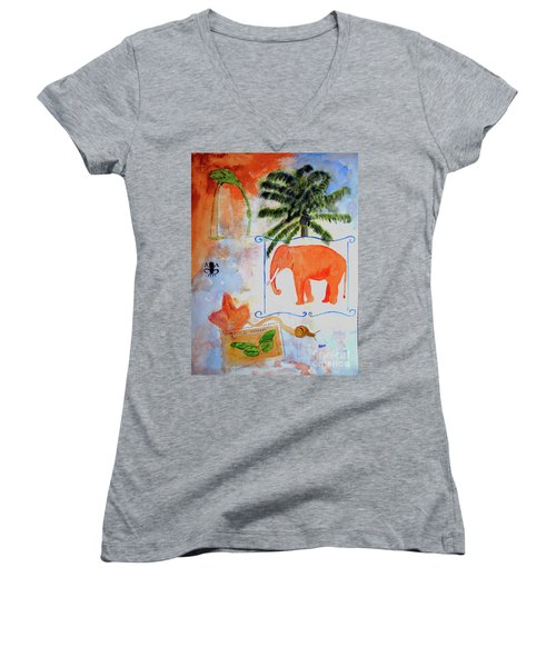 Women's V-Neck T-Shirt (Junior Cut) featuring the painting All Creatures Great And Small by Sandy McIntire