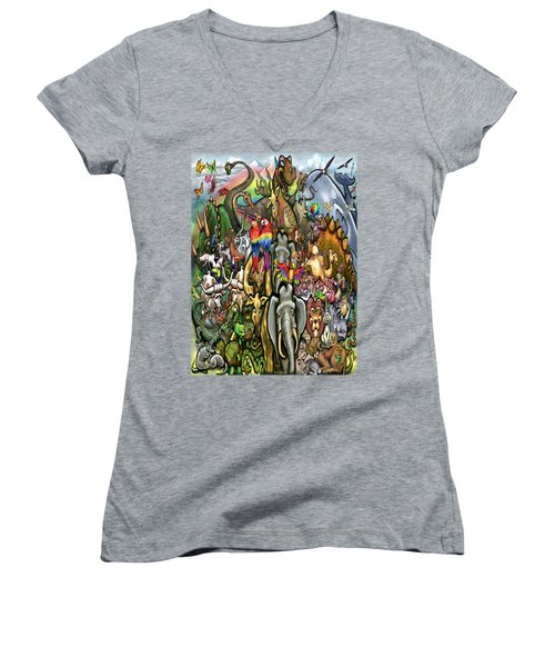 All Creatures Great Small Women's V-Neck T-Shirt (Junior Cut) by Kevin Middleton