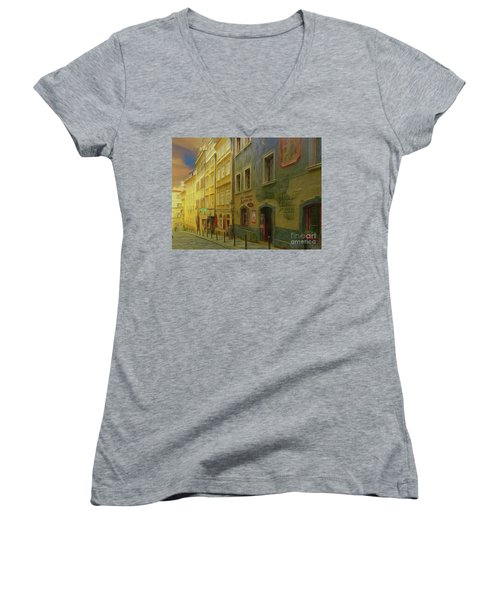 All Downhill From Here - Prague Street Scene Women's V-Neck
