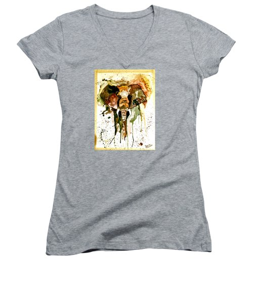 Women's V-Neck T-Shirt (Junior Cut) featuring the painting All Ears by Denise Tomasura