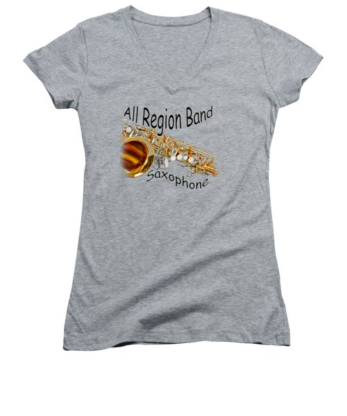 All Region Band Saxophone Women's V-Neck T-Shirt (Junior Cut) by M K  Miller