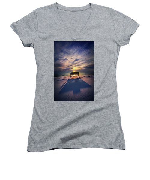 Women's V-Neck T-Shirt (Junior Cut) featuring the photograph All Shadows Chase Swift by Phil Koch
