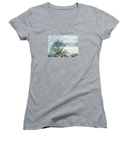 All The Leaves Have Gone Women's V-Neck T-Shirt (Junior Cut) by Ronda Broatch