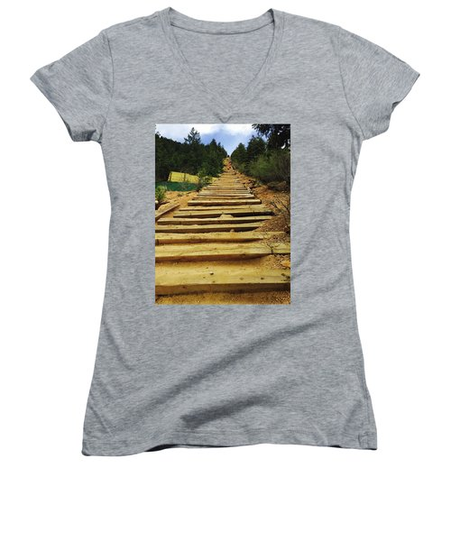 Women's V-Neck T-Shirt (Junior Cut) featuring the photograph All The Way Up by Christin Brodie