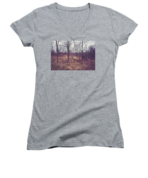Women's V-Neck T-Shirt (Junior Cut) featuring the photograph All The While by Shane Holsclaw