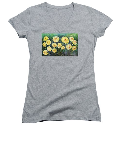 All Yellow Roses Women's V-Neck (Athletic Fit)