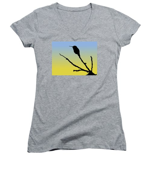 Allen's Hummingbird Silhouette At Sunrise Women's V-Neck (Athletic Fit)