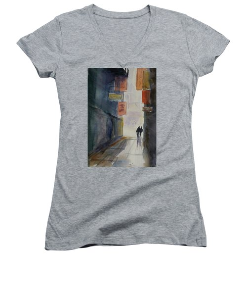 Alley In Chinatown Women's V-Neck T-Shirt