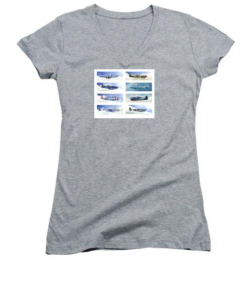 Allied Fighters Of The Second World War Women's V-Neck T-Shirt (Junior Cut) by Douglas Castleman