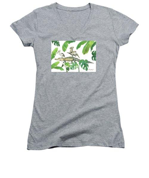 Alligator And Pelicans Women's V-Neck T-Shirt