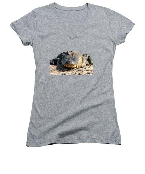 Alligator Approach .png Women's V-Neck T-Shirt