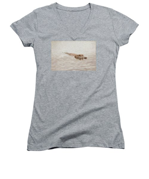 Alligator Waiting In The Water Women's V-Neck (Athletic Fit)