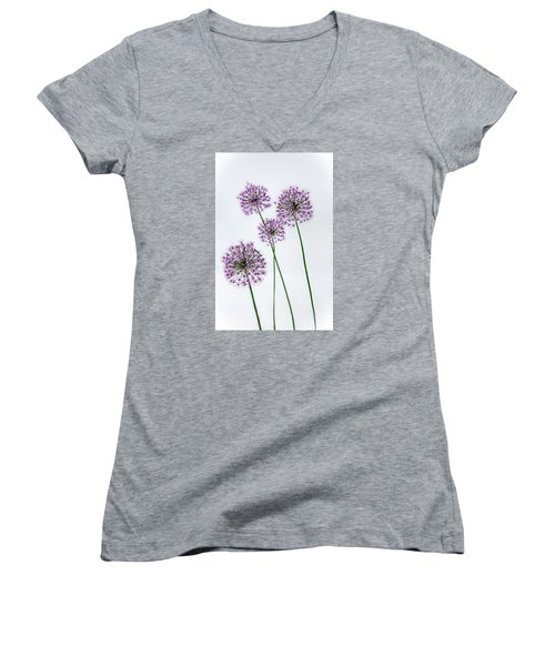 Alliums Standing Tall Women's V-Neck (Athletic Fit)