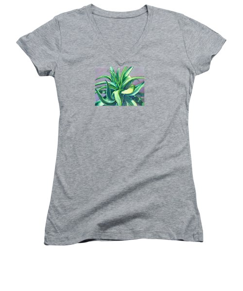 Aloe Vera Watercolor Women's V-Neck (Athletic Fit)