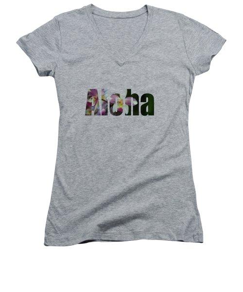 Women's V-Neck T-Shirt (Junior Cut) featuring the photograph Aloha Orchids Type by Kerri Ligatich