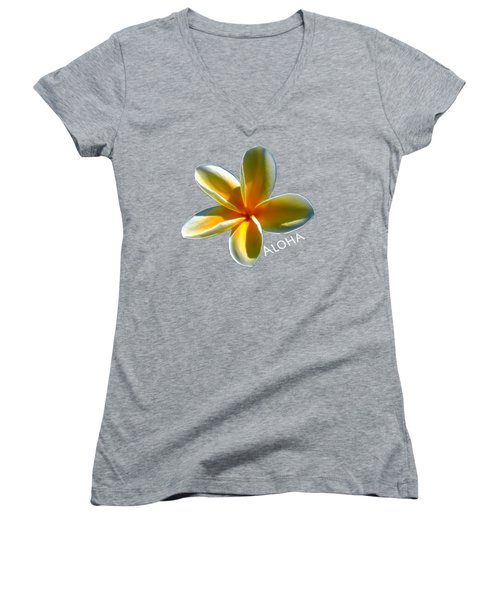 Aloha Plumeria Women's V-Neck T-Shirt (Junior Cut) by Pamela Walton