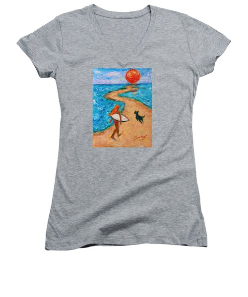 Women's V-Neck T-Shirt featuring the painting Aloha Surfer by Xueling Zou