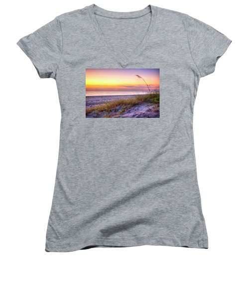 Women's V-Neck T-Shirt (Junior Cut) featuring the photograph Alone At Dawn by Debra and Dave Vanderlaan