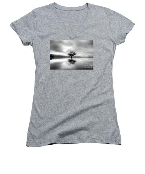 Women's V-Neck T-Shirt (Junior Cut) featuring the photograph Alone Bw by Douglas Stucky