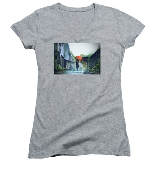 Alone In The Abandoned Town Women's V-Neck