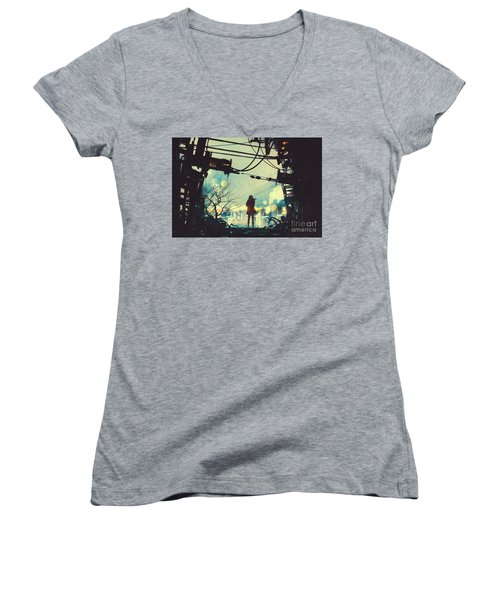 Alone In The Abandoned Town#2 Women's V-Neck