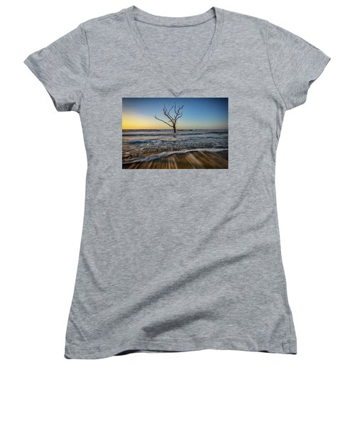 Women's V-Neck T-Shirt (Junior Cut) featuring the photograph Alone In The Water by Rick Berk